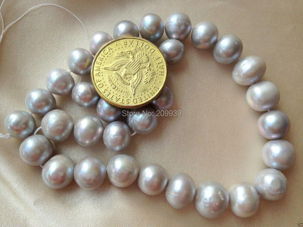 Huij 00317 AA + 12 14 мм серебристо серый (серый) Круглый культивированный пресноводный жемчуг свободные бусины