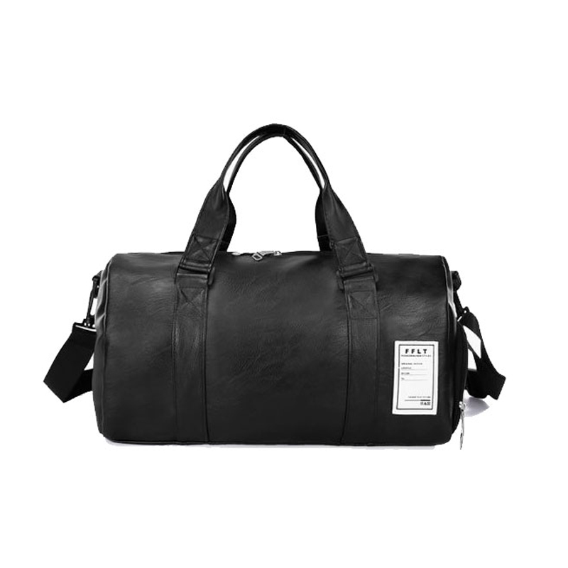 Wobag Fashion Quality Travel Bag Women black PU Leather Gym Bags Hand Luggage For Men Duffle Bag