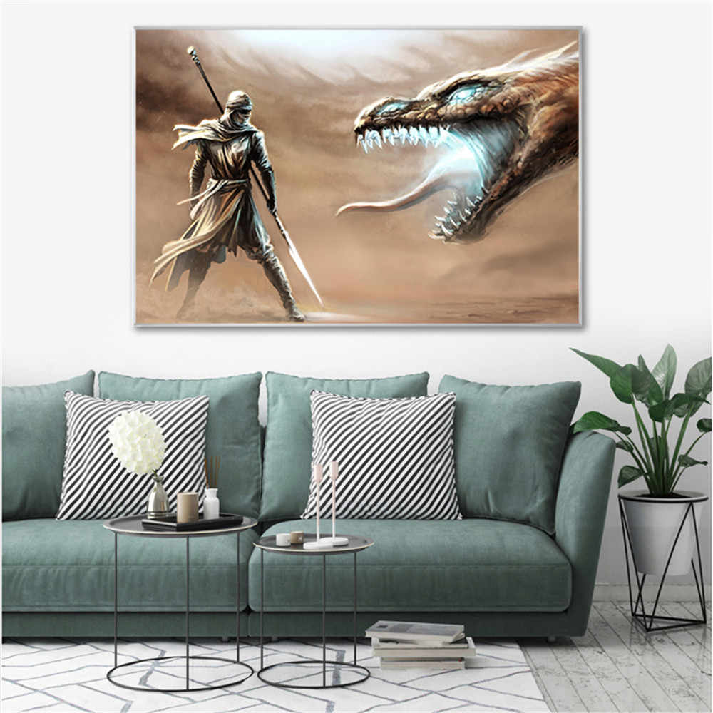 Abstract Oil Painting Wall Art Chinese Dragon Poster Vintage Canvas Pictures For Living Room Decroation Home Decor