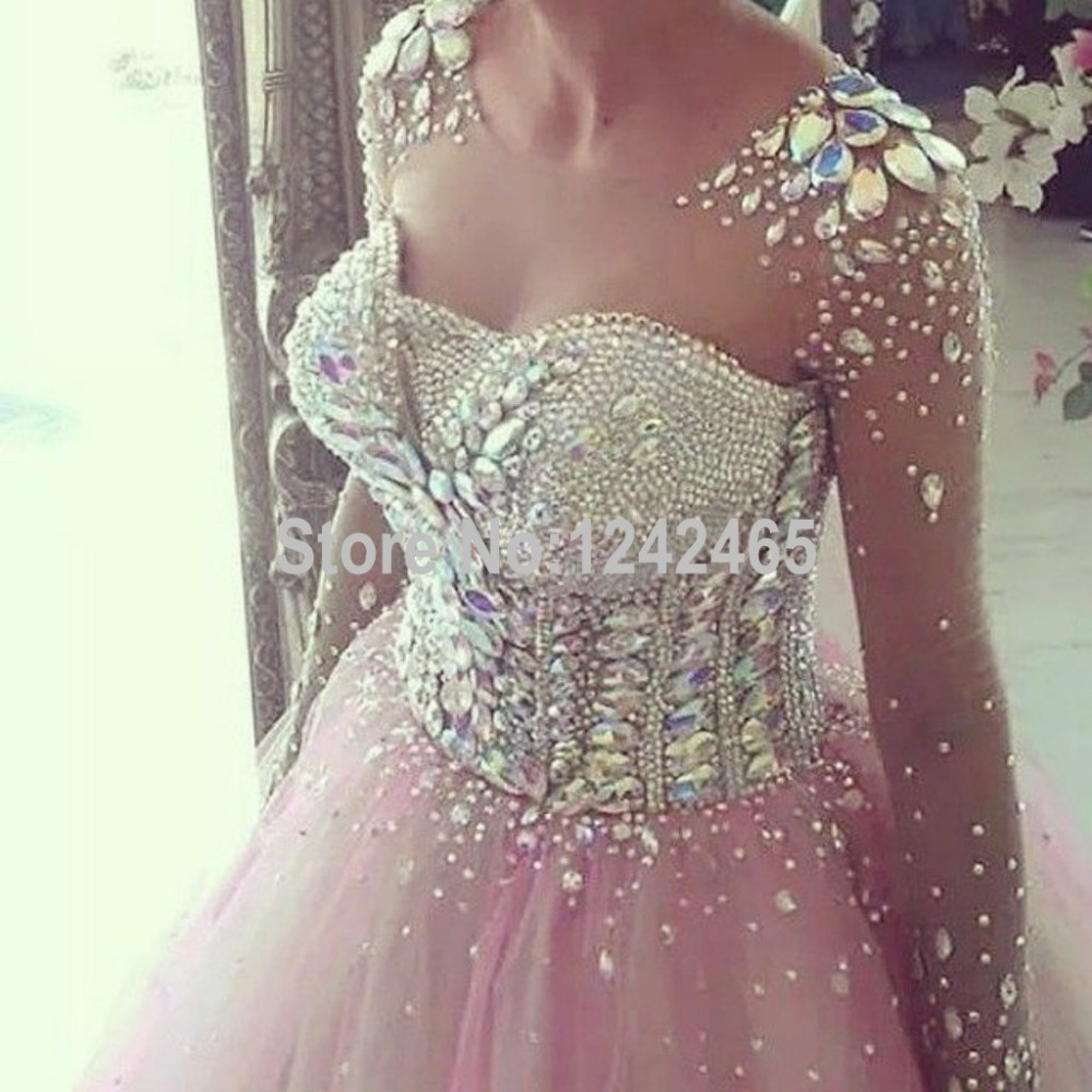Sparkle Sheer Long Sleeves Ball Gown Evening Gowns Long Tulle ...