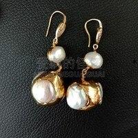 E090216 White Coin Pearl 24K Golden Plated Hook Earrings