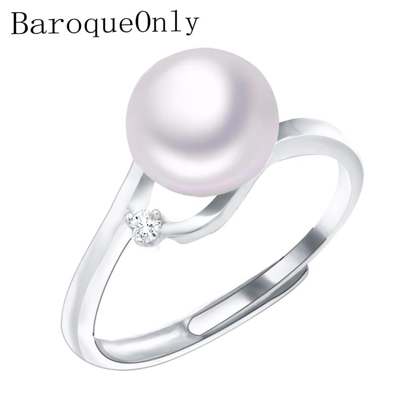 Baroqueonly Aaa Zirkon Dekoration Perle Ring Edlen Schmuck Von Silber Süßwasser Perle Ringe 925 Sterling Silber Ringe Für Frauen