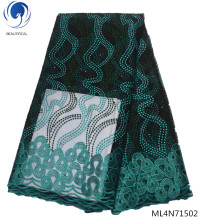 Beautifical french tulle lace fabrics 2019 new arrival african fabric dress green laces for women 5yards/lot ML4N715