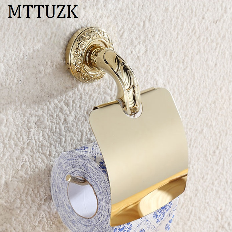 MTTUZK stainless steel golden polishing paper towel rack bathroom paper holder and craved roll Holder tissue holder with cover