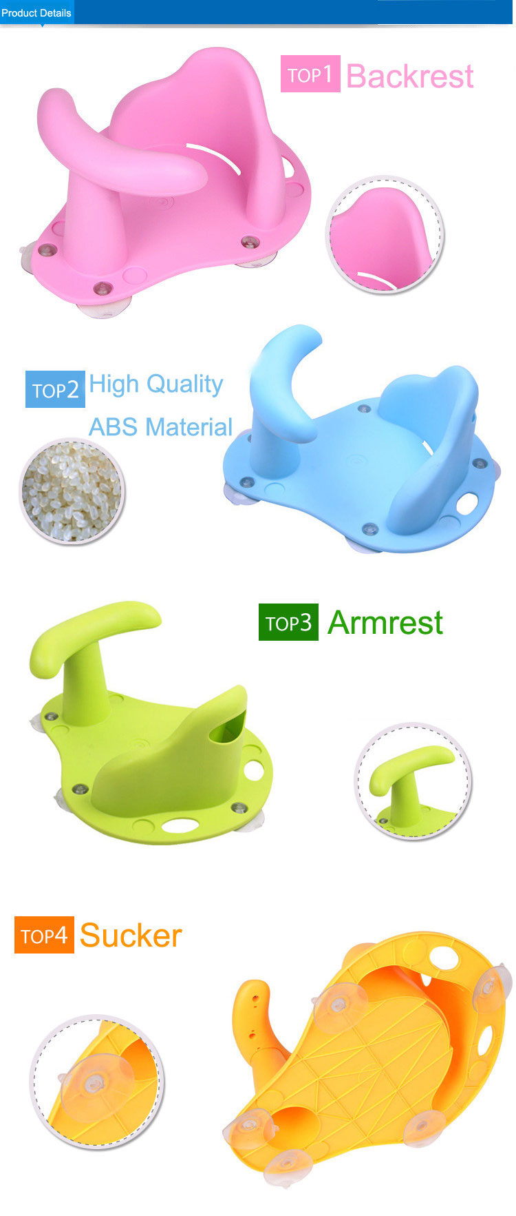 Baby Bath Tub Ring and Baby Bathtub Seat Made with Rubber and ABS Material for Infant Safety 6