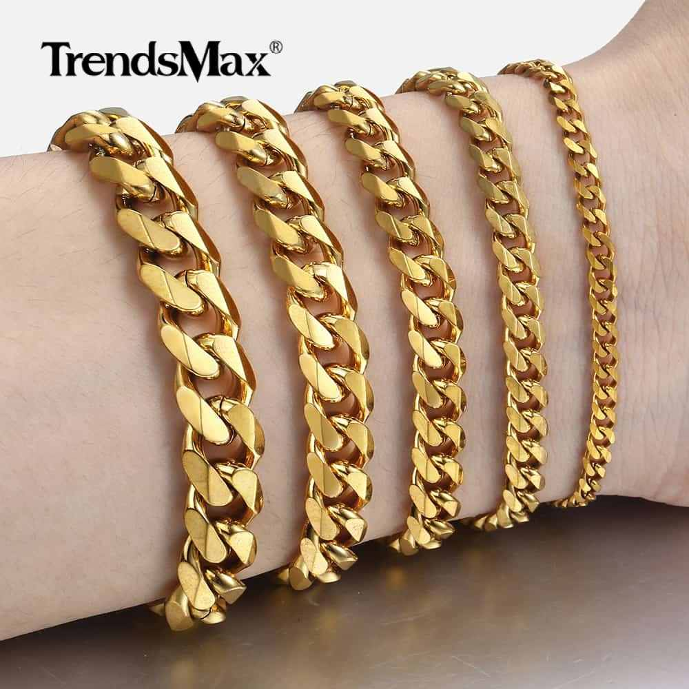 Personalized Women's Men's Bracelet Stainless Steel Cuban link Chain Bracelets Gold Silver Color Fashion Wholesale Jewelry KBB10