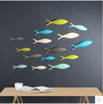 Three dimensional wall stickers, creative fish model crafts, TV background wall wall soft decorations, living room dining room w