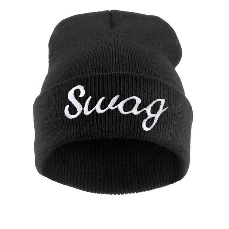 Hip Hop Hat Swag for Women Cheap Winter Skullies & Beanies with Letters Solid Color Knitted Caps for Ladies Fashion Accessories skullies