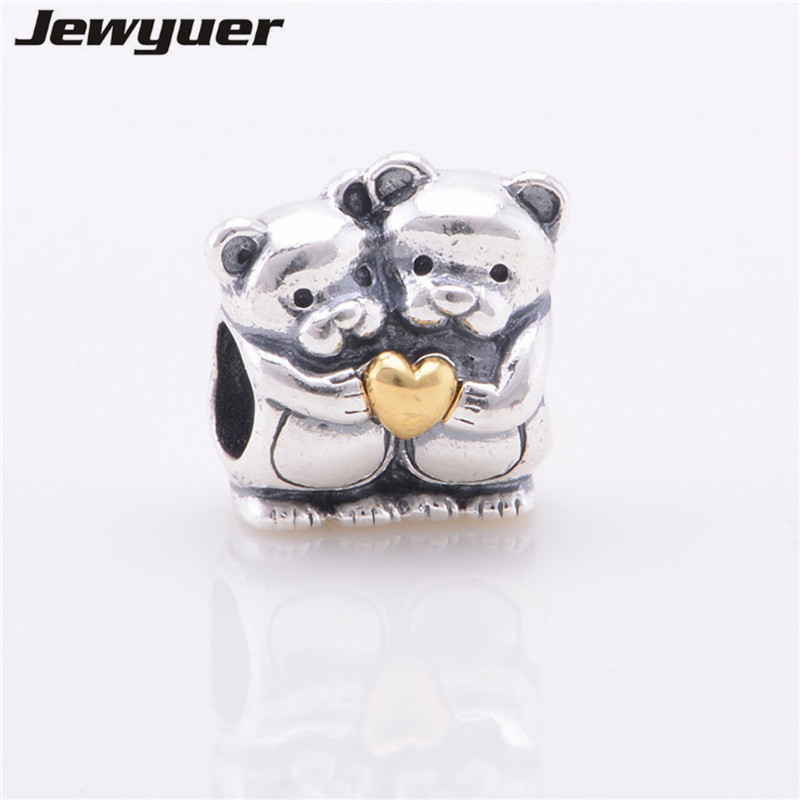 Silver Bear Hug Charms with gold heart fit 925 sterling silver beads bracelets diy pendant for jewelry making Memnon GD030