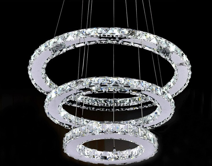 Kronleuchter Led Edelstahl ~ Moderne chrom kronleuchter kristalle diamant ring led lampe