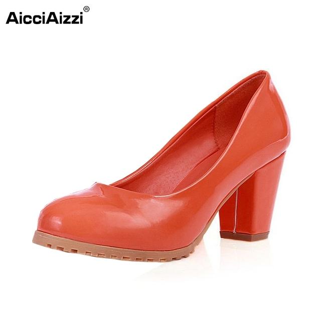 Mujeres de alto tacón cuadrado zapatos de charol mujer marca ronda talones del dedo del pie zapatos de tacón bombas sexy lady calzado tamaño 34-39 P23520