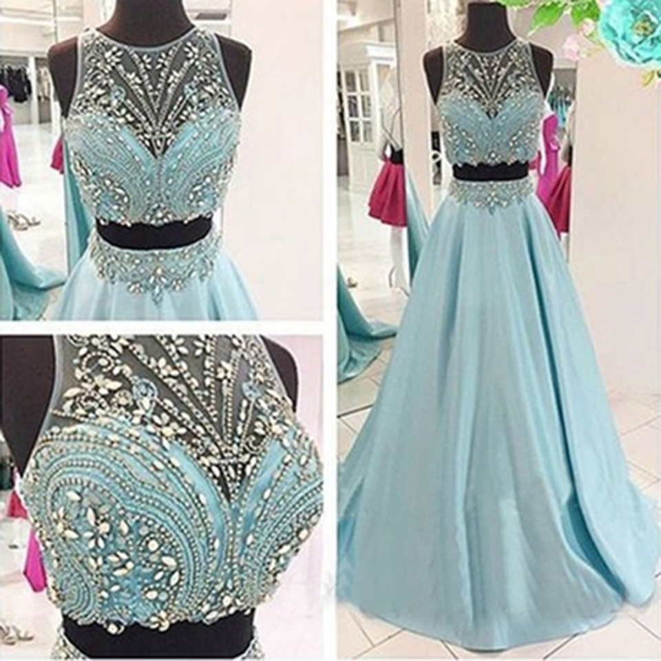 Unique Crystals Two Piece Prom Dresses 2016 Girls Beaded Satin Light ...