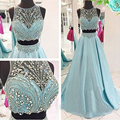 Unique Crystals Two Piece Prom Dresses 2016 Girls Beaded Satin Light Blue Prom Dress Sexy Ball Gown Prom Gowns For Party RT35