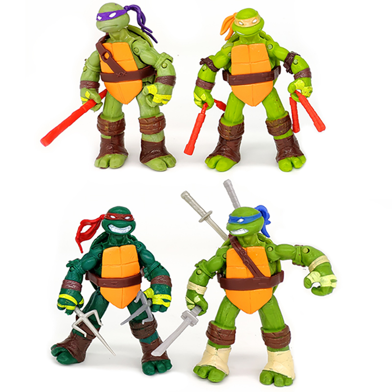 4pcs/lot Turtles Europe And America Style Anime Figure Michelangelo Donatello Leonardo Raphael Hands And Feet Can Move Toys
