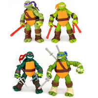 4pcs/lot Turtles Europe and America style anime figure Michelangelo Donatello Leonardo Raphael Hands and feet can move Toys