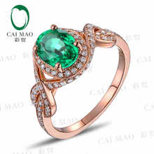 CaiMao 1.13 ct Natural Emerald 18KT/750 Rose Gold 0.50 ct Full Cut Diamond Engagement Ring Jewelry Gemstone