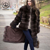 2018 Fashion Natural Fox Fur Coat For Women Stand Collar Long Fur Jacket With Removable Bottom Luxury Fur Coats For Girls FC 027