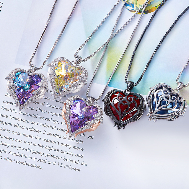 CDE Women Necklace Pendant Embellished with crystals from Swarovski Heart Necklace Valentines Gift Angel Wings Female Jewelry 2