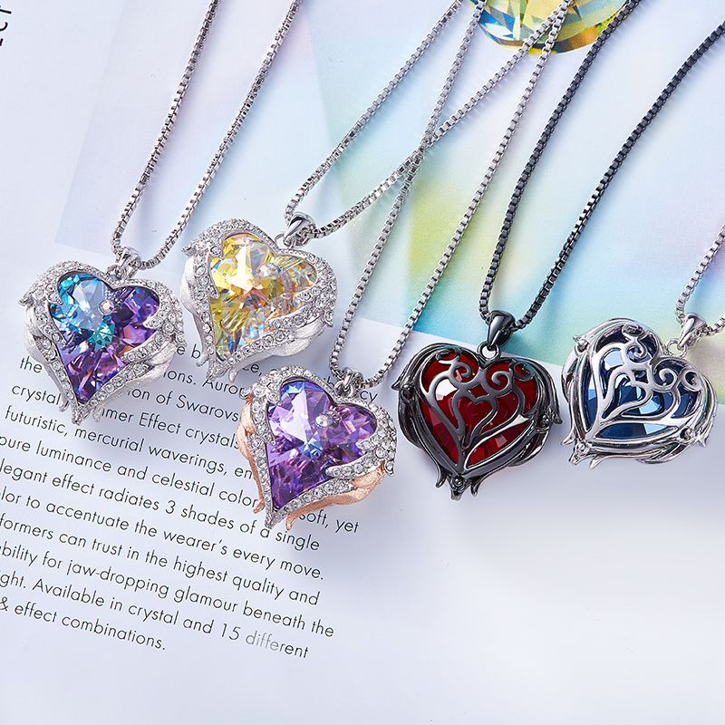 CDE Women Silver Color Necklace Embellished with Crystals from Swarovski Necklace Angel Wings Heart Pendant Valentines