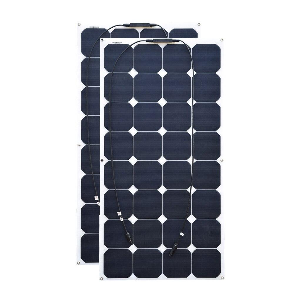 100 w 18 v 2 pcs ETFE flexible solaire panelfor RV Bateau Golf Marine Yachts Accueil utiliser la lumière flexible 21% 32 pcs cellules haute qualité