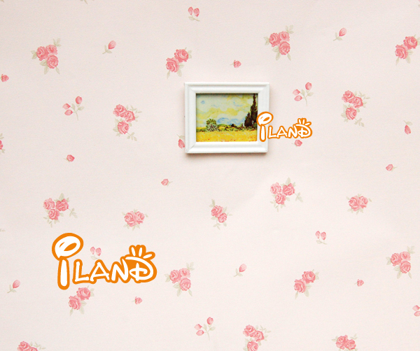 iland 1:12 Dollhouse Miniatrue Bedroom Decoration accessories linen Wallpaper rose flowers Four style total 4 pieces