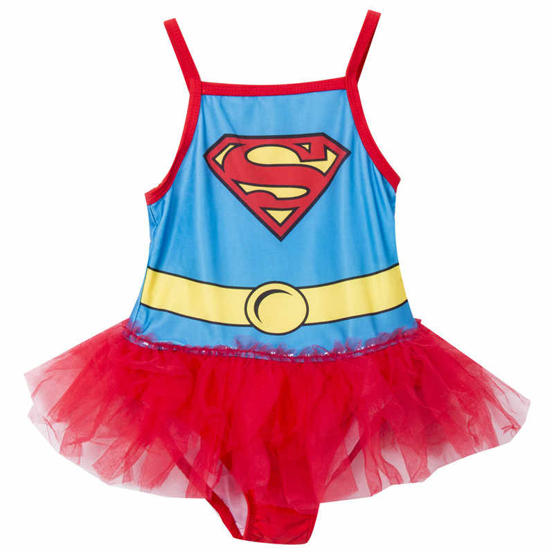 2cfa067e2a Detail Feedback Questions about Girls One Piece Swimsuit Cartoon Superman  Style Girls Swimwear Mesh Patchwork Bathing Suit Tutu Skirts Swimwear  Costume on ...