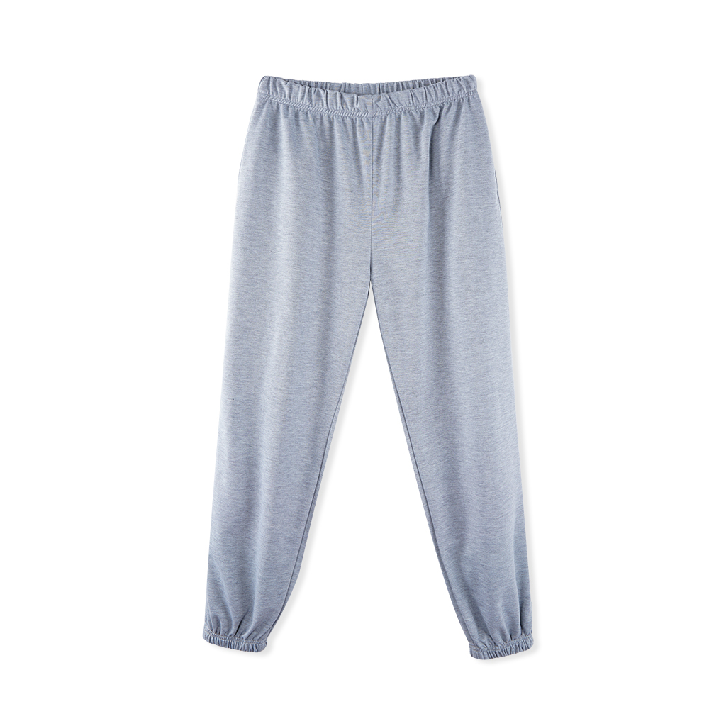 Pencil-Pants Jogger Trousers Women High-Waist Gray Solid Loose