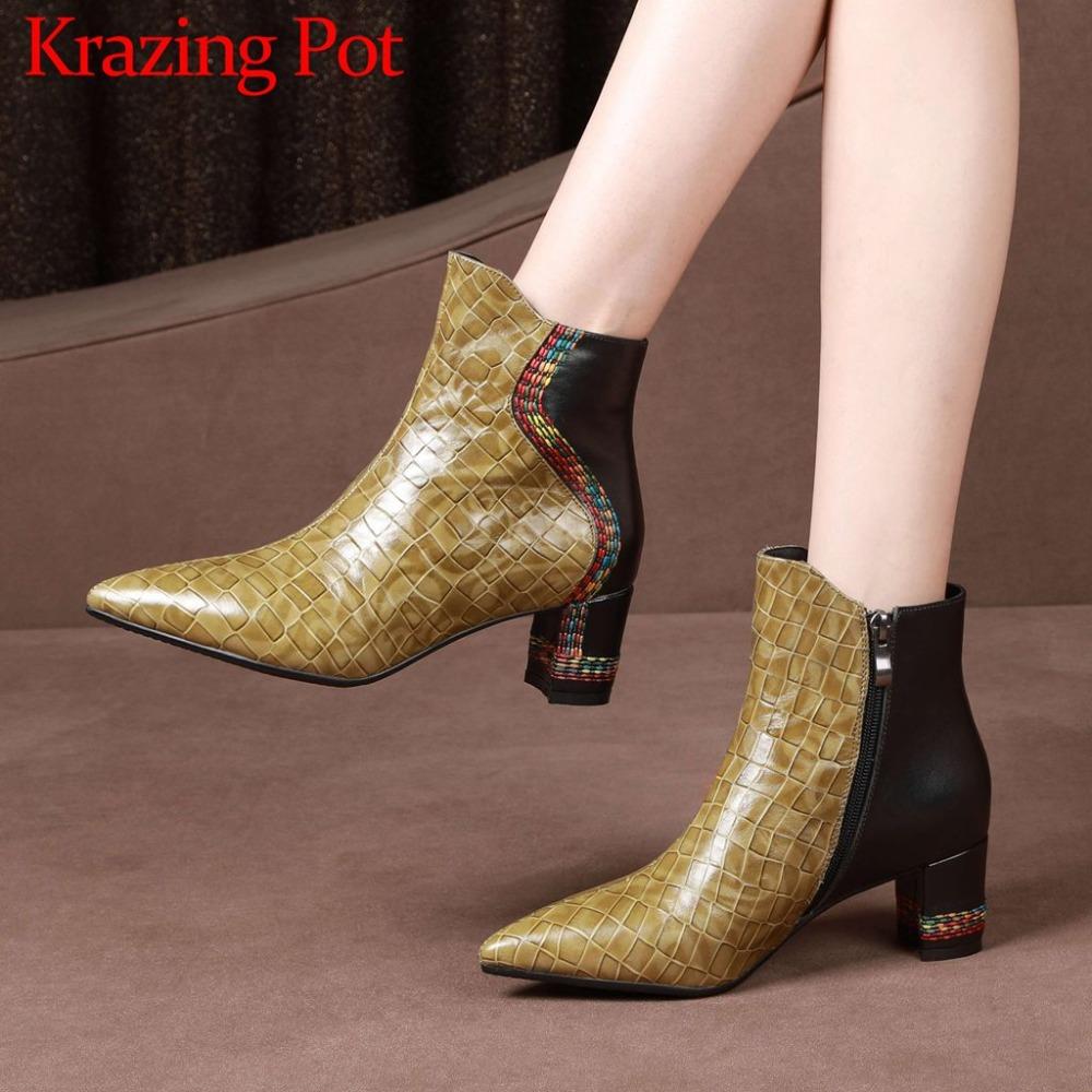 British style oxford pointed toe chelsea boots big size colorful sewing med strange heels zip natural leather ankle boots L32 цена
