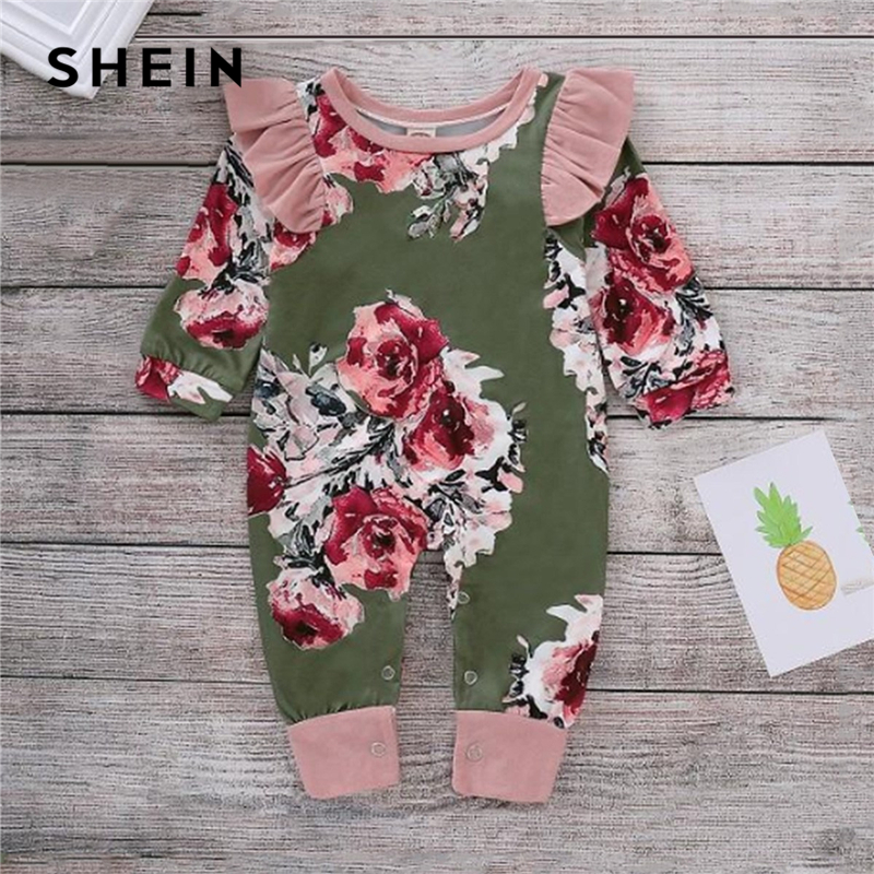 SHEIN Kiddie Toddler Girls Floral Print Frill Trim Jumpsuit Kids Clothing 2019 Spring Long Sleeve Children Casual Jumpsuits shein kiddie grey solid caged neck marled knitted skinny casual jumpsuit girls 2019 spring sleeveless criss cross kids jumpsuits