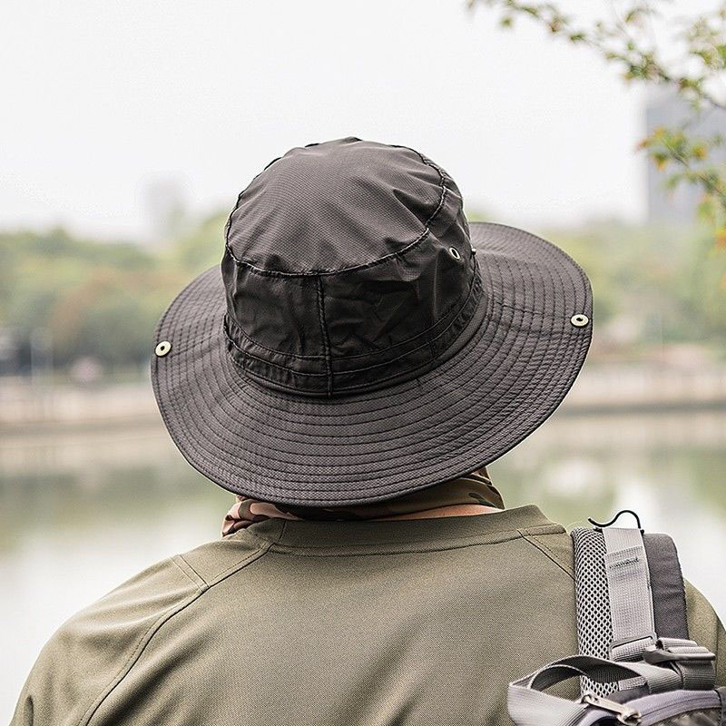 3685eb44ce6 Men Solid Cotton Bucket Hats Boonie Hunting Fishing Outdoor Cap Wide Brim  Military Unisex Women Fashion Summer Sun Hats C446