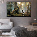 Modern Animals Posters and Prints Wall Art Canvas Painting Deer and Bears in the Woods Pictures for Living Room Wall Home Decor