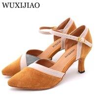 WUXIJIAO Для женщин Латинская танцевальная обувь фланелевую ткань salsa обувь удобная обувь с острым носком Каблук 7,5 см
