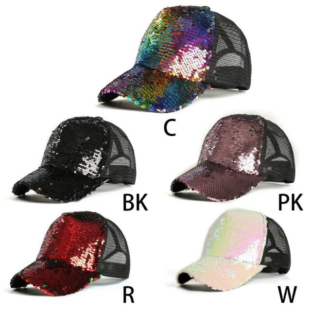 Womens Unisex Messy Bun Ponytail Baseball  Tennis   Cap Reversible Magic Glitter Sequins Contrast Color Mesh Back Adjustable