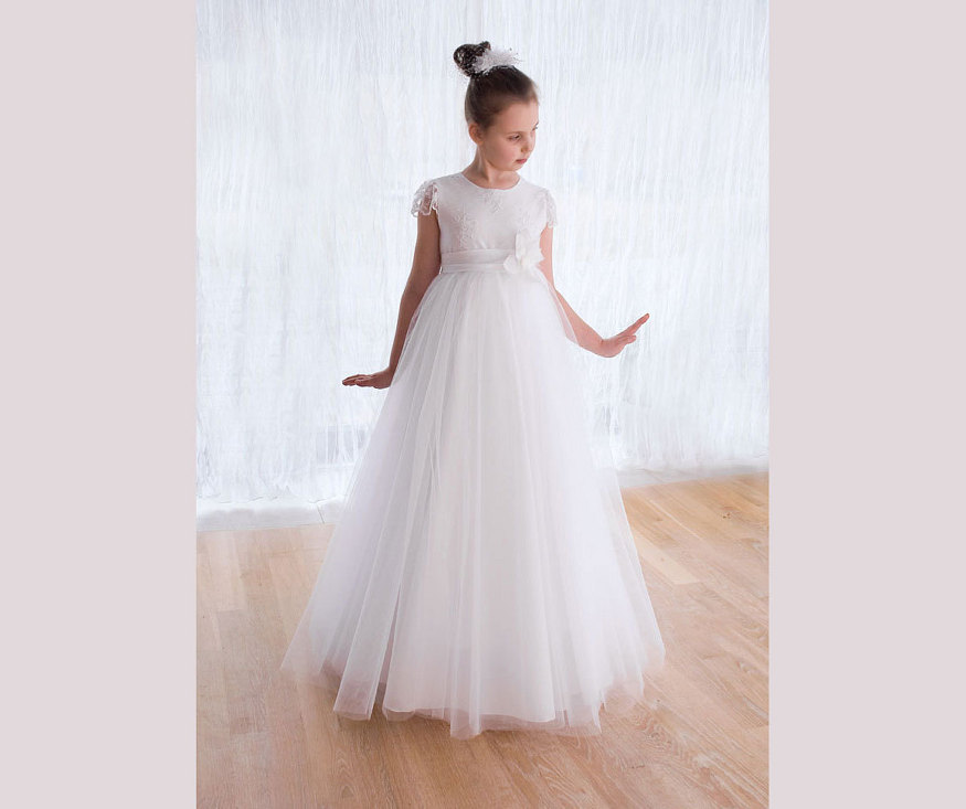 Sleeveless Flower Girls Dresses for Wedding A-Line First Communion Dresses for Girls White Mother Daughter Dresses For Girls a line flower girls dresses for wedding gown white mother daughter dresses tulle first communion dresses for girls
