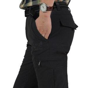 Image 3 - גברים של צמר טקטי למתוח מכנסיים החורף מקרית חם מכנסיים מטען צבאי SoftShell לעבוד מכנסיים עבה חם עמיד למים מכנסיים