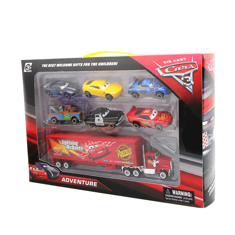 Disney Diecast Metal Alloy Pixar Cars 3 Metal Truck <font><b>Hauler</b></font> with 6 Small Cars Disney Cars 3 Jackson Storm McQueen Toys For Kids image