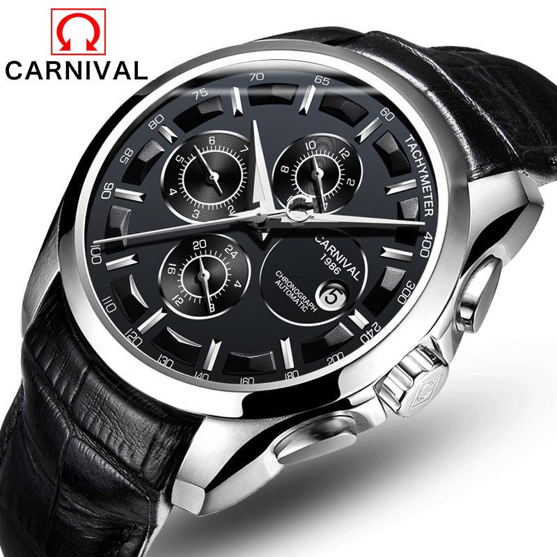 Prix pour Relogio masculino Nouveau Suisse Carnival Automatique Montres Hommes Mécanique Horloge Bracelet En Cuir 30 m Résistance À L'eau 8659G
