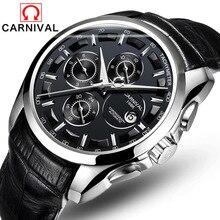 Relogio masculino Nouveau Carnaval Automatique Montres Hommes D'affaires Mécanique Horloge Bracelet En Cuir 30 m Résistance À L'eau Saphir 8659G