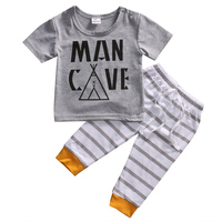 2pcs!!Newborn Infant Kids Baby Boy Clothes Set Short Sleeve T-shirt Tops+Striped Pants Outfit 0-24Month