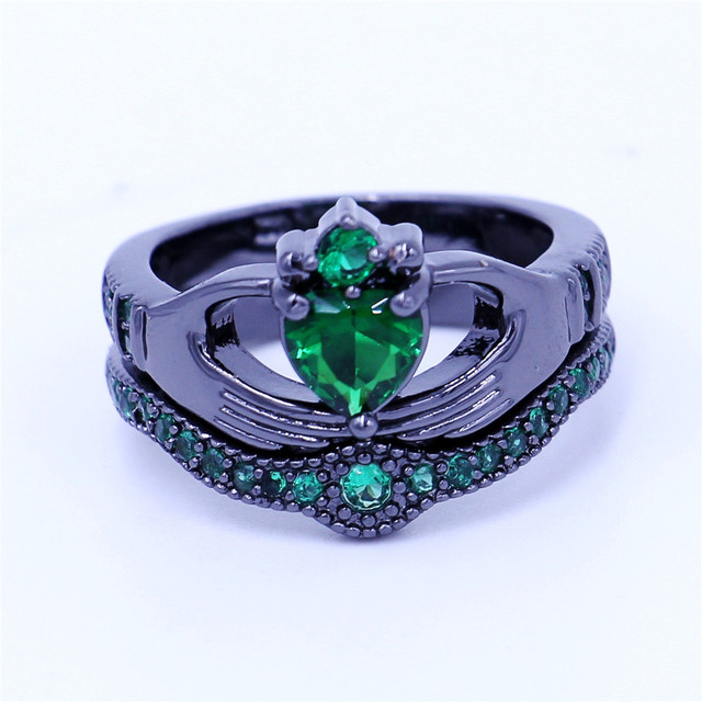New claddagh ring Birthstone Jewelry Wedding band rings set for