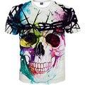 2016 Nova Marca de Moda T-shirt Hip Hop 3d Imprimir Crânios Harajuku Animação 3d camiseta Verão Fresco T Encabeça Marca roupas