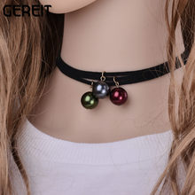 3 pcs/Set 90's Women Black Velvet Choker Necklace Gothic Handmade Retro Vintage Ball Charm Choker Burlesque Jewelry collares(China)