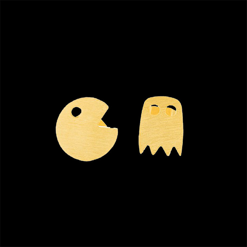 Wholesale 10pair/<font><b>lot</b></font> <font><b>Fun</b></font> Game Gold Filled Pacman Stud Earrings For Men Women <font><b>Jewelry</b></font> Stainless Steel Cute Pac-Man Oorbellen image