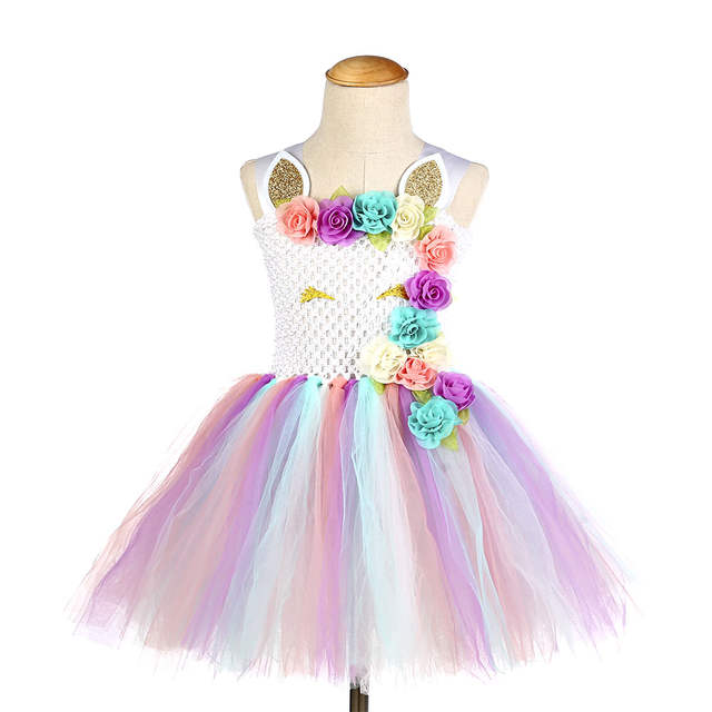 b2b154a002f44 Online Shop Halloween Girl Unicorn Tutu Dress with Horns Cute Baby Girls  Flowers 1st Birthday Party Tulle Dresses Unicorn Costume Clothes