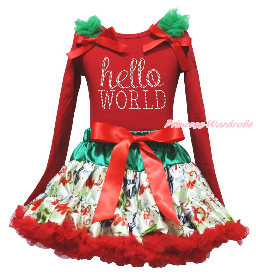 Christmas Rhinestone Hello World Red Top Snowman Skirt Girl Clothing Outfit 1-8Y xmas rhinestone santa baby top green white dot red skirt baby girl outfit 1 8y mapsa0048