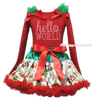 Christmas Rhinestone Hello World Red Top Snowman Skirt Girl Clothing Outfit 1 8Y