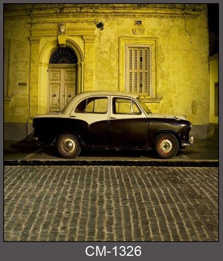 b096eff0f3b3 ΞПользовательские виниловая ткань старинное здание ретро автомобиль ...