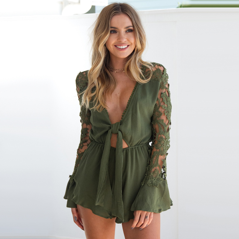 EIGHT UP European And American Summer New Shorts Lace Splicing The Sleeve Sexy V Collar And Waist Jumpsuit.
