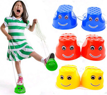 Outdoor Plastic Balance Training Smile Face Jumping Stilts Shoes for Children Kids Walker Toy(China)