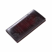 TERSE New Wallet Handmade Leather Long Wallet Genuine Leather Men Purse Card Holder Long Lettering Wallet custom service 326 1
